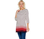 Denim & Co. Petite Perfect Jersey Ombre Stripe 3/4 Sleeve Tunic - A303262