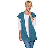 As Is Isaac Mizrahi Live! 2-Ply Cashmere Open Front Hooded Vest - A306262