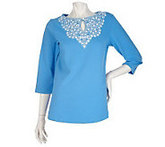 Bob Mackies Embroidered Daisy Yoke Top with 3/4 Sleeves - A200163