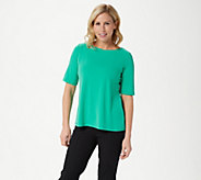 Susan Graver Essentials Liquid Knit Bateau Neck Top w/Elbow Sleeves - A213063