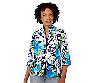 Susan Graver Shantung Floral Print Jacket with Mandarin Collar - A213563