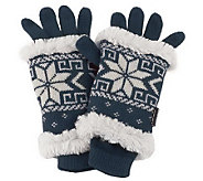 MUK LUKS 3-in-1 Weather Resistant Snowflake Knit Gloves - A218363