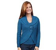 Motto Rib Knit Button Front Shawl Collar Cardigan - A218563