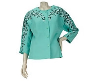 Bob Mackies Blossom Embroidered Button Front Pique Jacket - A223763
