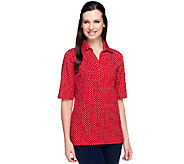 Susan Graver Weekend Printed Stretch Cotton Elbow Sleeve Polo Shirt - A231963