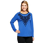 Bob Mackies Scoop Neck Knit Top w/Flocked Embellishment - A239163