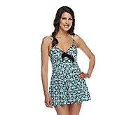 Fit 4 U Thighs Retro Vintage Tie Front Swim Dress - A252563