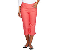 Denim & Co. How Smooth Petite Capri Pants with Pockets - A252863