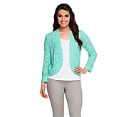 Joan Rivers Crochet Shrug with 3/4 Sleeves - A253763