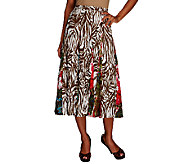 Susan Graver Weekend Printed Cotton Eight Gore Pull-on Skirt - A254563
