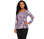 Attitudes by Renee Lace Printed Ballerina Neck Top - A256163