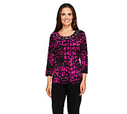 Susan Graver Printed Liquid Knit Embellished Scoop Neck Top - A257963