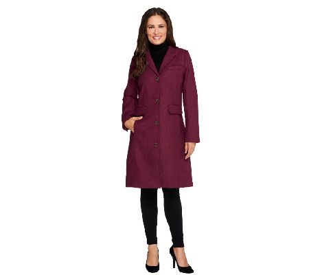 Isaac Mizrahi Live! Herringbone Chesterfield Coat - A258463