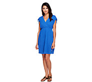 As Is Denim & Co. Beach Crinkle Gauze Tie Shoulder Cover-up - A262163