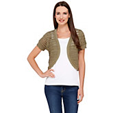 Liz Claiborne New York Short Sleeve Pointelle Shrug - A262963