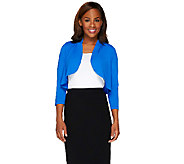 Bob Mackies 3/4 Sleeve Open Front Jersey Knit Shrug - A265363