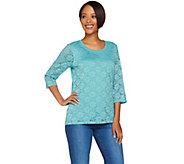 Denim & Co. 3/4 Sleeve Top with Lace Front Detail - A267963