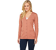As Is Denim & Co. Essentials Button Front Cardigan - A268063