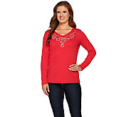 Quacker Factory Jewel Neck Embellished Long Sleeve T-shirt - A268963