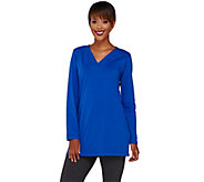 Denim & Co. Essentials Perfect Jersey Crossover V-Neck Tunic - A269363