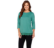 LOGO Lounge by Lori Goldstein French Terry Scoop Neck Top with Lace Trim - A269663