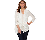 LOGO by Lori Goldstein Slub Knit Embroidered Cardigan - A275763