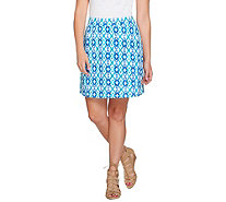 Susan Graver Weekend Printed French Terry Comfort Waist Skort - A276463