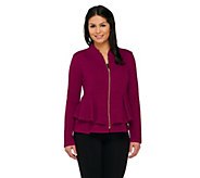 As Is George Simonton Textured Knit Zip Front Peplum Jacket - A277063