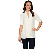 H by Halston Short Sleeve Knit Top with Chiffon Drape Front - A278663