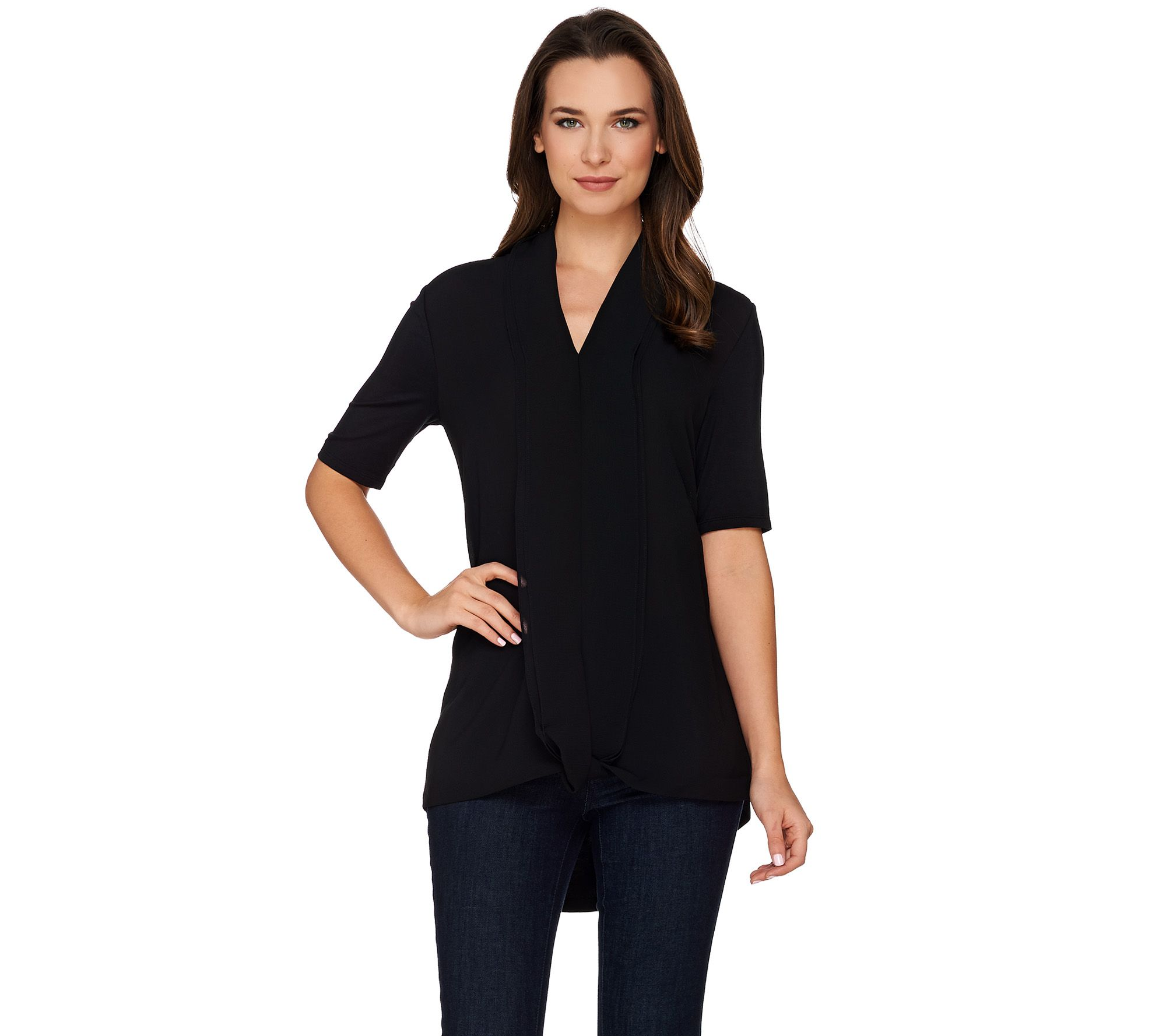 H by Halston Short Sleeve Knit Top with Chiffon Drape Front - Page 1 — QVC .com
