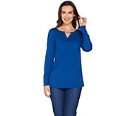 Susan Graver Butterknit Top with Keyhole Trim - A278863