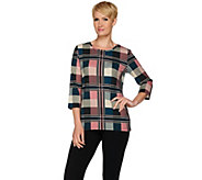 Denim & Co. Plaid Printed 3/4 Sleeve Top - A280663