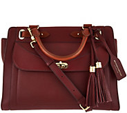 Isaac Mizrahi Live! Bridgehampton Pebble Leather Satchel Handbag - A280963