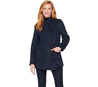 Susan Graver Quilted Knit Zip Front Jacket W Faux Leather Trim