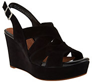 As Is Clarks Artisan Suede Criss-cross Strap Wedges - Amelia Alice - A283563