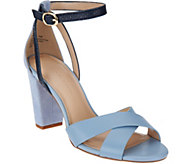 As Is H by Halston Leather & Suede Strappy Block Heel Sandals Kaeyln - A287563