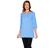 Denim & Co. Active 3/4 Sleeve Scoop Neck Striped Tunic Top - A288363