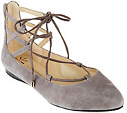 As Is Isaac Mizrahi Live! Lace-up Pointed Toe Flats - A289863
