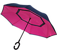 Revers-A-Brella Double Layer Inverted No Drip Deluxe Umbrella w Case - A292263