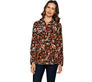 Denim & Co. Paisley Print Button Front Utility Shirt - A292963