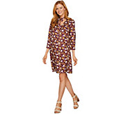 Du Jour Floral Printed 3/4 Sleeve Dress with Neck Tie Detail - A293763