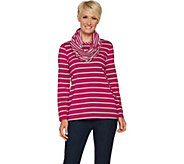 Susan Graver Weekend Striped Cotton Modal Top with Scarf - A294863