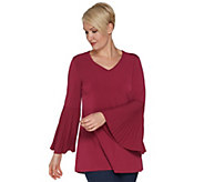 Attitudes by Renee Jersey Top with Pleated Bell Sleeves - A298663