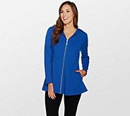 Denim & Co. Active Fit and Flare French Terry Zip Front Jacket - A300763