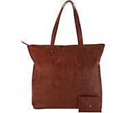 American Leather Co. Glove Leather Zip Top Tote w/ Accessory - A300963