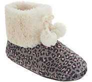 As Is Cuddl Duds Faux Fur Lined Ankle Boot Slipper w/Foam Insole - A309363
