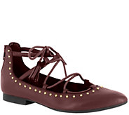 Bella Vita Leather Ghillie Pointed-toe Flats -Ollie - A339063