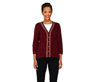 As Is Isaac Mizrahi Live! 2-Ply Cashmere Beaded Cardigan - A343663