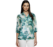 Susan Graver Printed Sheer Chiffon 3/4 Sleeve Y-Neck Blouse - A214164