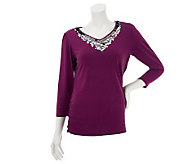 Bob Mackies Sequin Embellished V-neck Top - A230764